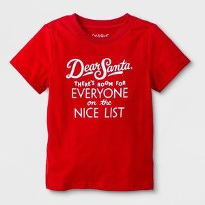 "NWT Cat & Jack ""Dear Santa"" Short Sleeve Top 2T"